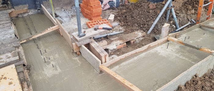 Engineering Bricks on concrete Foundation for rear extension in Greenford